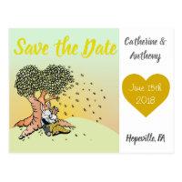 Whimsical Bunny Rabbit Wedding Theme Save the Date Postcard