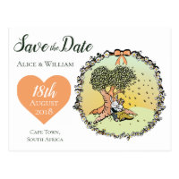 Whimsical Bunny Rabbit Wedding Theme Save the Date Postcard