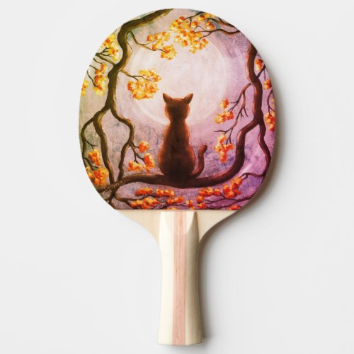 Whimsical Cat in Tree Full Moon Painting Art Ping Pong Paddle
