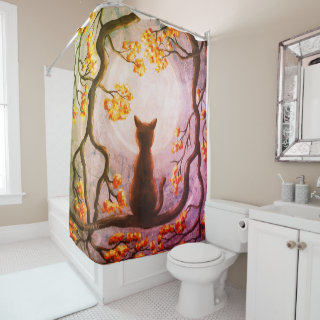 Whimsical Cat in Tree Full Moon Painting Art Shower Curtain