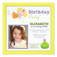 Whimsical Fairy Girls Birthday Party Invite: lemon Card