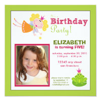 Whimsical Fairy Girls Birthday Party Invite: lime Card