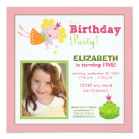 Whimsical Fairy Girls Birthday Party Invite: pink Card