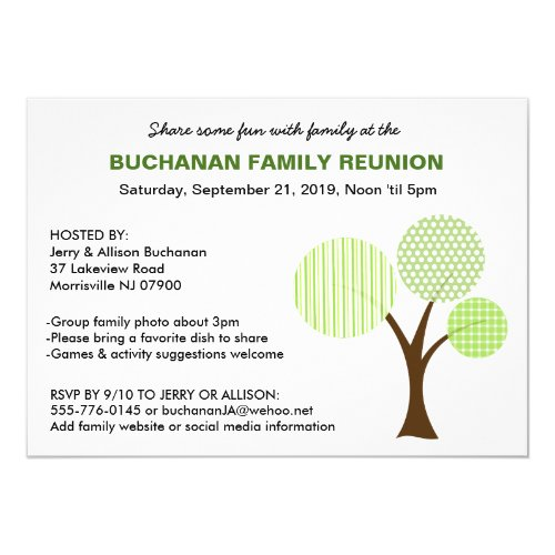 Whimsical Family Tree Family Reunion Invitation