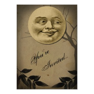 Whimsical Full Moon Face Halloween Party 5x7 Paper Invitation Card