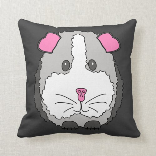 Whimsical Gray Guinea Pig Throw Pillow