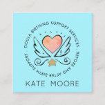 Whimsical Heart Wings Midwife Or Doula Birth Coach Square Business Card