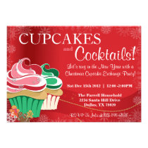 Whimsical Holiday Christmas Cupcake Exchange Party Invitations