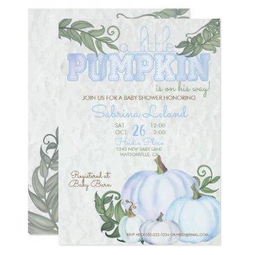 Whimsical Little Pumpkin Blue Boy Baby Shower Invitation