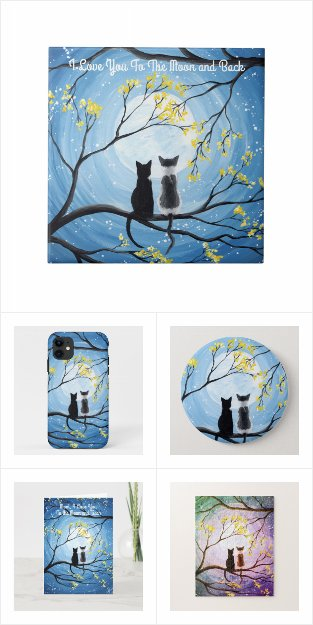 Whimsical Moon with Cats Acrylic Painting Products