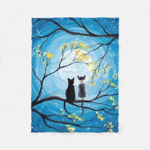 Whimsical Moon with Cats Fleece Blanket