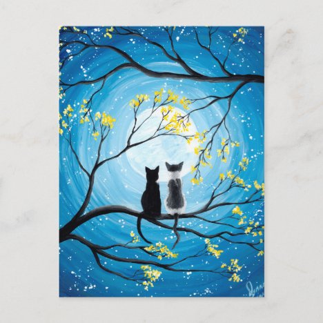 Whimsical Moon with Cats Postcard
