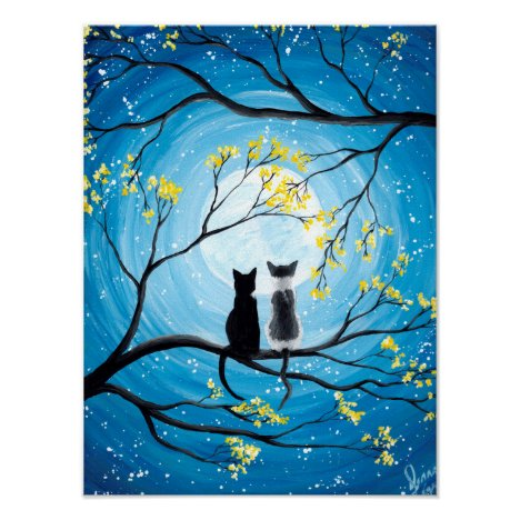 Whimsical Moon with Cats Poster