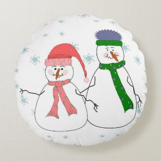 Whimsical Mr. and Mrs. Snowman Snowing Winter Art Round Pillow