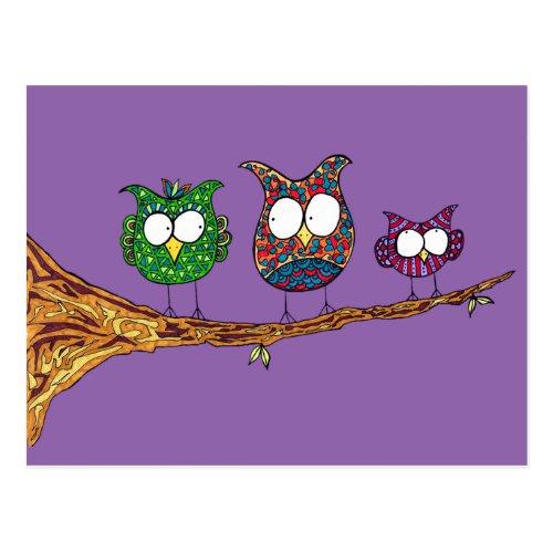 Whimsical Owls Postcard