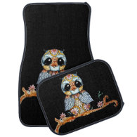 Whimsical Patterned Owl Car Mats Full Set Floor Mat