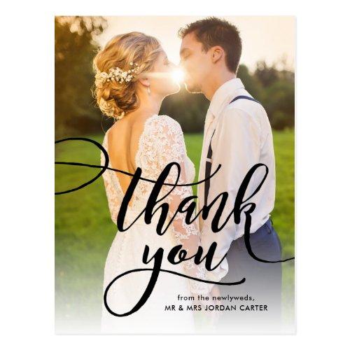 Whimsical Script Full Photo Wedding Thank You Postcard
