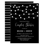 Whimsical String Lights Black Couples Shower Invitation