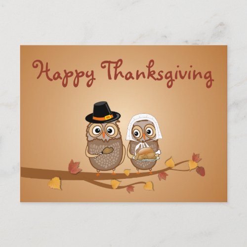 Whimsical Thanksgiving Owls Holiday Postcard