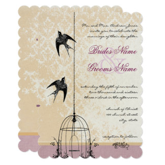Whimsical Vine Bird Cage Wedding Invitations