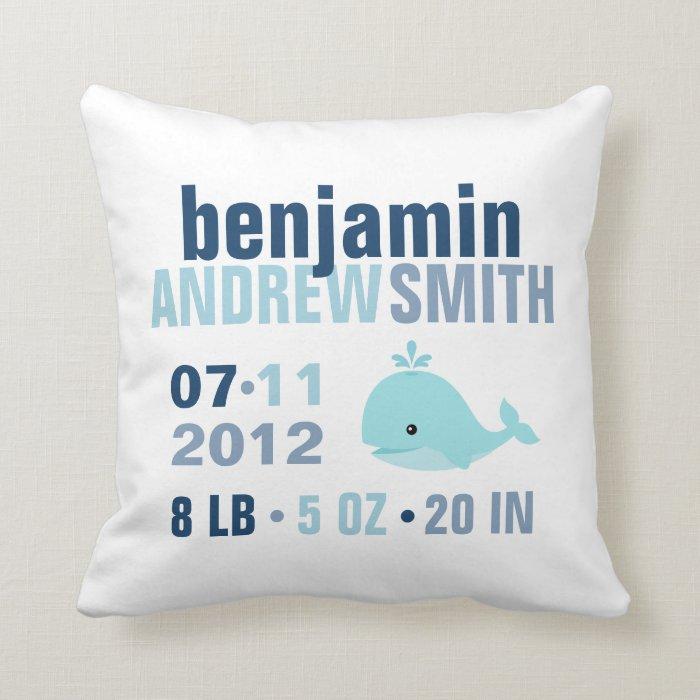 Whimsical Whale Baby Birth Announcement {blue} Throw