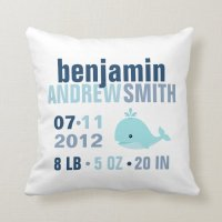 Whimsical Whale Baby Birth Announcement {blue} Throw