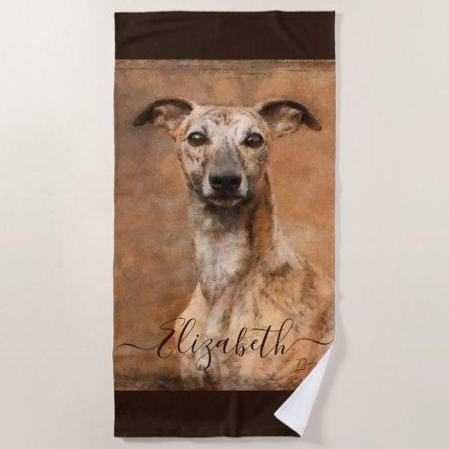 Whippet Dog Add Name Beach Towel