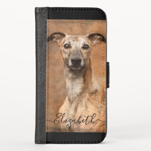 Whippet Dog Add Name iPhone X Wallet Case