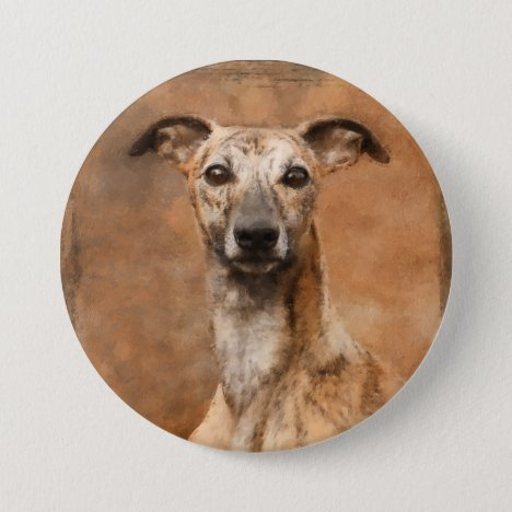 Whippet Dog Portrait Artwork Button