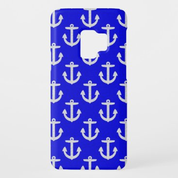 White Anchors On Blue Background Case-Mate Samsung Galaxy S9 Case