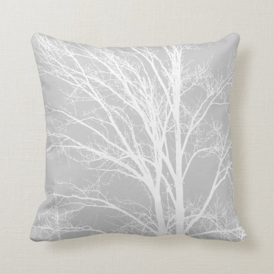 White and Grey Tree Branches Throw Pillow  Zazzlecom