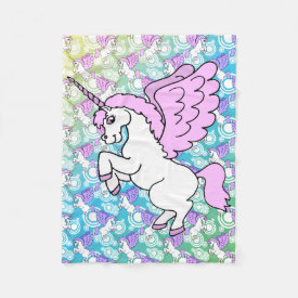 White and Pink Unicorn Fleece Blanket