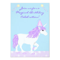 White and Purple Unicorn Girls Birthday Invitation
