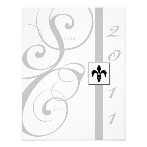 White and Silver Scroll Ribbon Graduation 4.25x5.5 Paper
