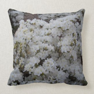 White Azaleas in Springtime CricketDiane Pillow throwpillow