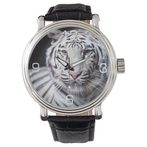 White Bengal Tiger Photography Wrist Watch
