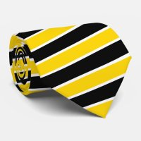 White, Black and Gold Diagonal Striped Tie