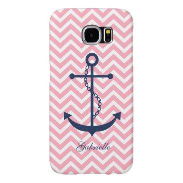 White Blue & Pink Zigzag Pattern Anchor Samsung Galaxy S6 Case