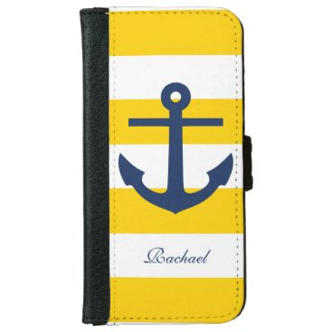 White Blue & Yellow Anchors Aweigh Wallet Phone Case For iPhone 6/6s