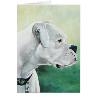 White Boxer Dog Art Greeting Card
