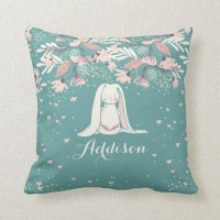 White Bunny & Flowers | Custom Name Throw Pillow | Zazzle