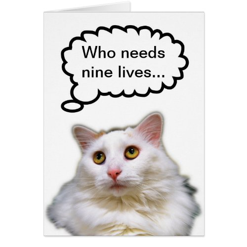 White Cat Birthday Nine Lives Card