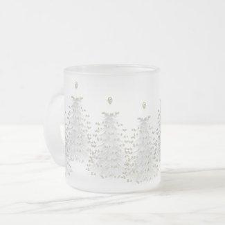 White Christmas Tree Holiday Frosted Mug