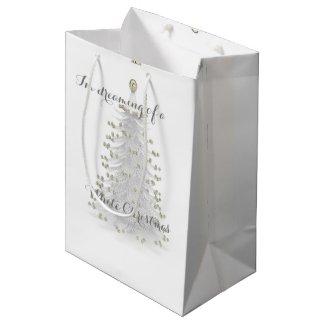 White Christmas Tree Holiday Gift Bag