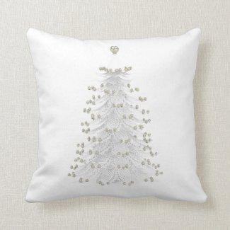 White Christmas Tree Holiday Throw Pillow
