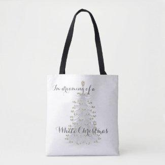 White Christmas Tree Holiday Tote Bag