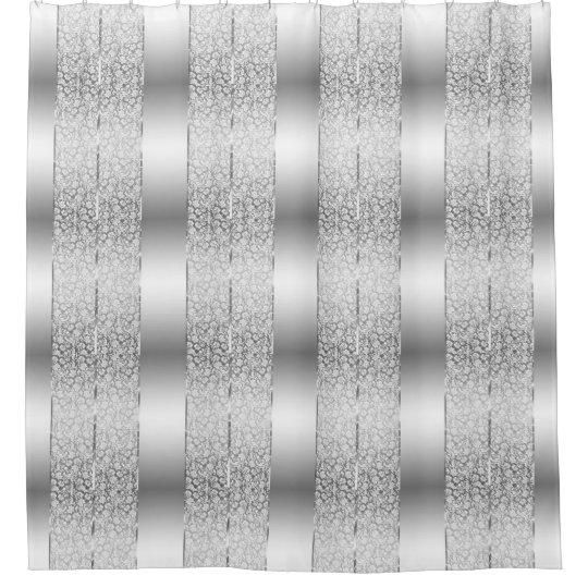 White Damasks Amp Shiny Silver Stripes Shower Curtain