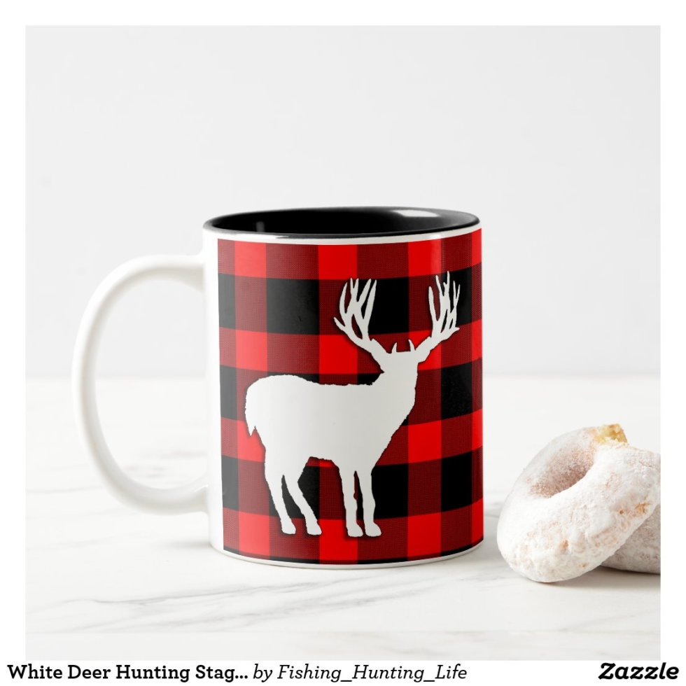White Deer Hunting Stag Silhouette Two-Tone Coffee Mug