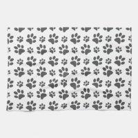 White dog paw print pattern kitchen towel | Zazzle