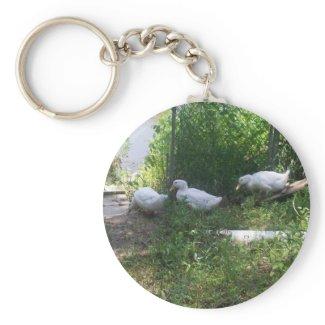White Ducks on a Ramp Keychain keychain